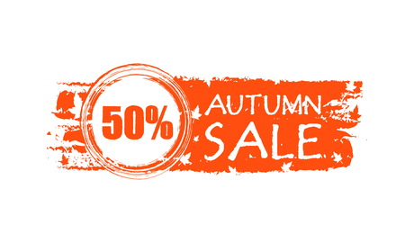 percentages: autumn sale with 50 percentages - orange drawn banner with text and fall leaves, business concept, vector