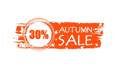 percentages: autumn sale with 30 percentages - orange drawn banner with text and fall leaves, business concept, vector