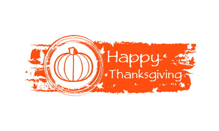 happy thanksgiving day - drawn autumn orange banner with text, pumpkin and fall leaves, holiday concept, vector