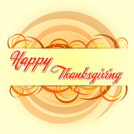 happy thanksgiving day - orange text and autumn colors circles, holiday greeting card, vector Illustration