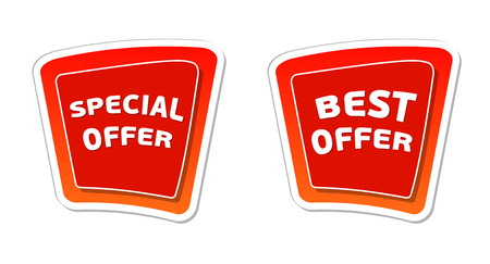 inexpensive: special and best offer - red banners with white text, business concept, vector