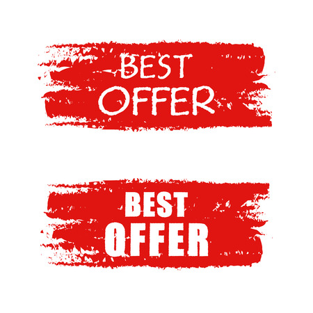 extra money: best offer - text on red drawn banner, business concept, vector