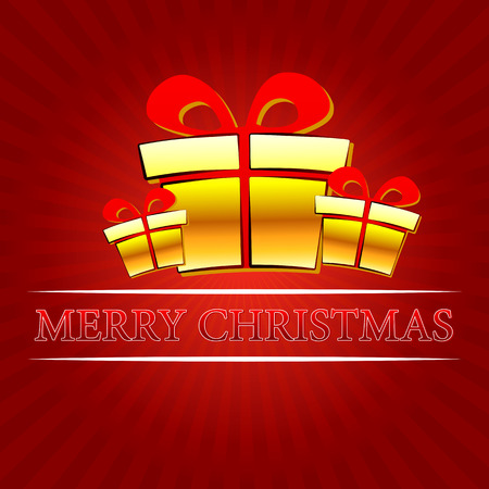 ray trace: merry christmas - text with golden gift boxes signs over red rays, vector