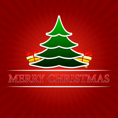 twelfth night: merry christmas - text with green christmas tree and golden gift boxes signs over red rays, vector