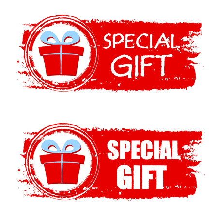 christmas present box: special gift - text and present box sign on red christmas drawn banner, business holiday concept, vector