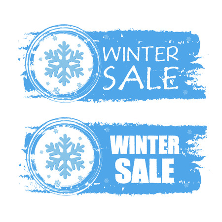 winter sale - text with snowflake sign on blue drawn banners, business seasonal concept, vector