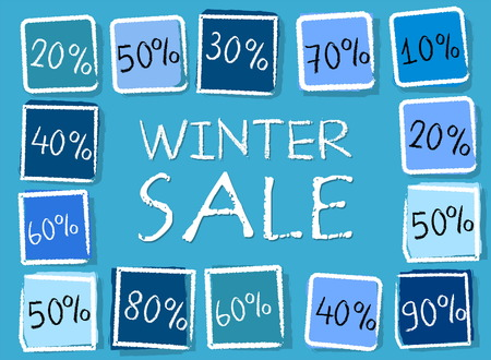 percentages: winter sale and different percentages - retro style blue label with text and squares, business seasonal concept, vector Illustration