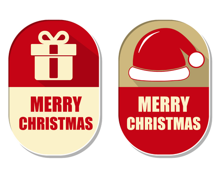 midnight hour: merry christmas with gift sign and red hat, two elliptic flat design labels with symbols, holiday concept Illustration