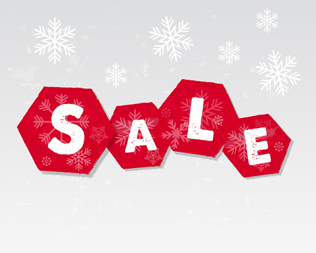 winter sale with snowflakes over white background, business seasonal shopping concept Illustration