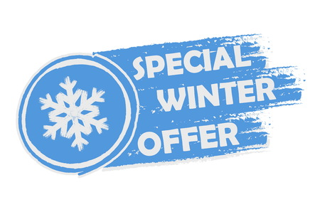 special winter offer with snowflake sign banner - text and symbol in drawn label, business seasonal shopping concept