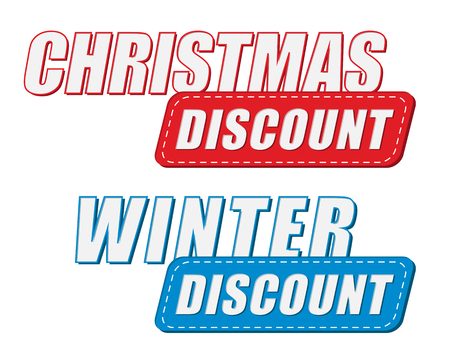 winter colors: christmas and winter discount in two colors labels, business holiday shopping concept, flat design
