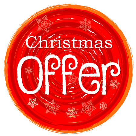 christmas offer - text and snowflakes in circular drawn red banner, business holiday concept