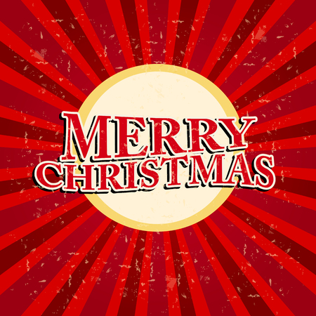 twelfth night: merry christmas - text in circle and retro red rays over old paper background, holiday seasonal concept