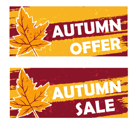 autumn offer and sale - yellow brown drawn banners with text and fall leaf, business seasonal shopping concept Illustration