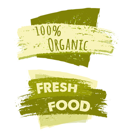 original ecological: 100 percent organic and fresh food banners, two green drawn text labels, business eco concept Stock Photo