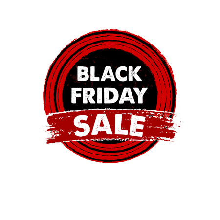 black friday, sale banner - text in red black drawn circle label, business seasonal shopping concept, vector