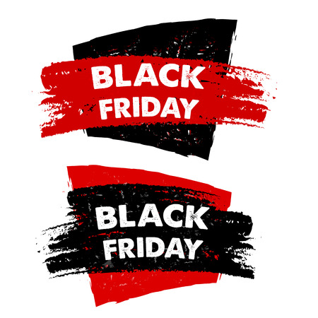 black friday, sale banners - text in red black drawn labels, business seasonal shopping concept, vector Illustration