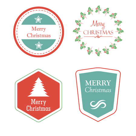 merry christmas in four holiday labels with christmas tree, star, mistletoe, greeting cards, vector Illustration