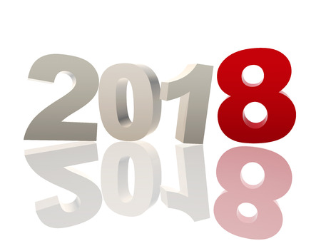 new year 2018 of 3d color ciphers with reflection over white background, holiday seasonal concept Stock Photo