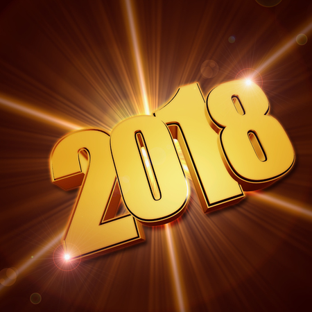 shining 3d golden new year 2018 with rays, holiday seasonal concept