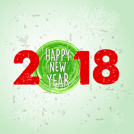 happy new year 2018 over green old paper background with snowflakes, holiday seasonal concept