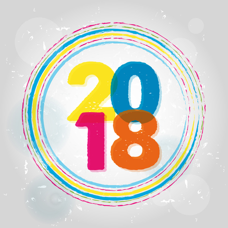 happy new year 2018 in rings, colorful drawn banner, holiday seasonal concept, vector Illustration