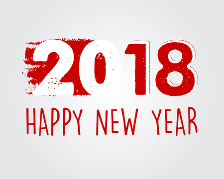 happy new year 2018 in drawn red white banner, holiday seasonal concept, vector