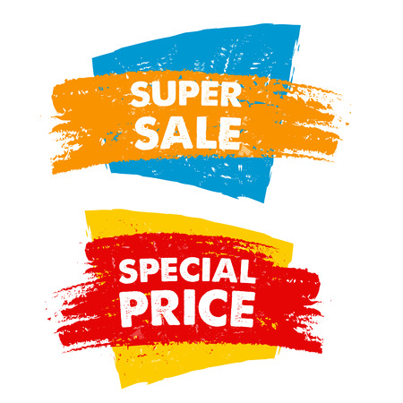 super sale and special price in text banner, colorful drawn label, business commerce shopping concept, vector