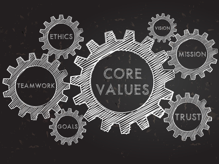 core values, teamwork, ethics, goals, vision, mission, trust,  - words in gear wheels infographic over blackboard, business cultural riches concept