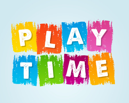 playtime - text in motley colored flat design tablets, drawn banner, holiday concept