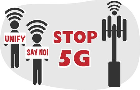 Stop 5G wi fi protest simple illustration