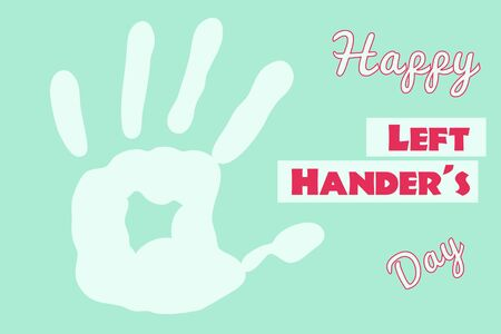 Happy Left Hander's Day poster handprint on mint background red text Illustration