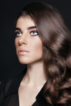 etalon: Fashion Beauty Girl  Gorgeous Woman Portrait  Portrait of young beautiful woman with curly brown hair Stock Photo