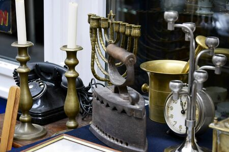 Street trade in antiques. Travel to Europe. Close-up. Selective focus. 写真素材