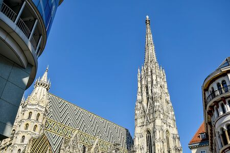 View of St. Stephen's Cathedral, cityscape. The mother church of the Roman Catholic Archdiocese of Vienna and the seat of the Archbishop of Vienna. Copy space.