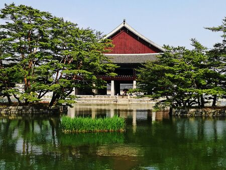 Beautiful South Korea landscape, view of traditional building on shore of Scenic lake. Tourism, travel.