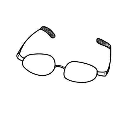 Black contour of Glasses. Outline drawing, doodle. Design Elements.