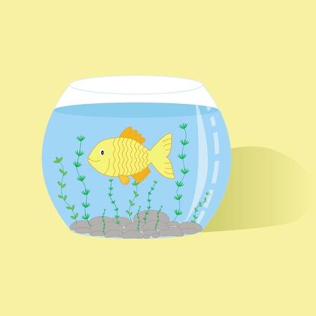 alga: Illustration of fish in aquarium