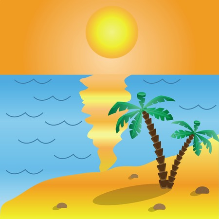 hot stones: Illustration of palm on the beach near the sea