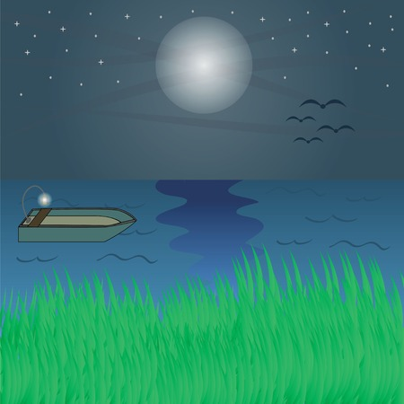 Illustration of river and boat at night