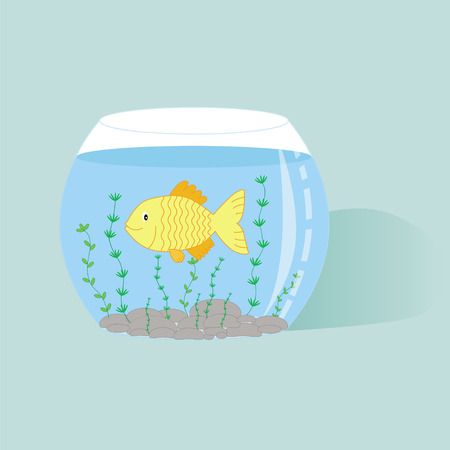Illustration of fish in aqusrium with water Vector