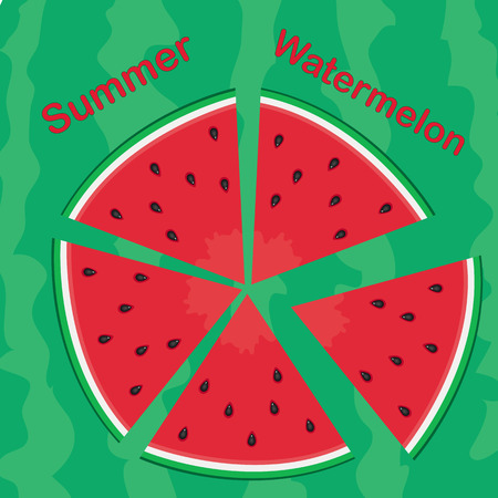 peel: Vector  illustration of watermelon slices on green peel Illustration