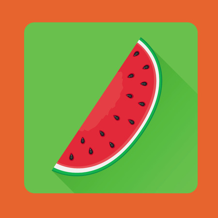 Vector illustration of watermelon red slice in flat style Illustration