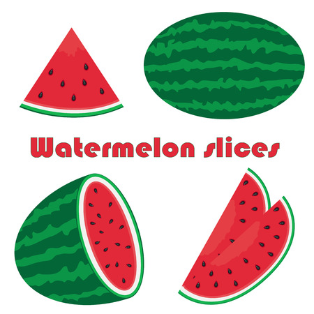 watermelon slice: Vector illustration of watermelon set on white Illustration