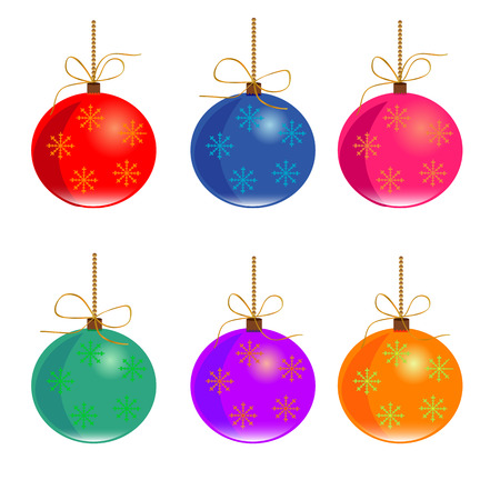 color balls: Set of Christmas and New Year color balls
