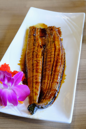 expensive: Japanese shoulder fish roasted whole. Topped with sweet and sour sauce, Unagi