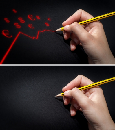 Human Hand Holding Pencil and Draws Stock Photo - 18610213