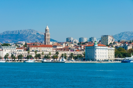 Skyline of city Split downtown in Croatia from the open sea  Editorial