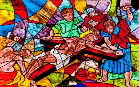 Stained glass showing Jesus