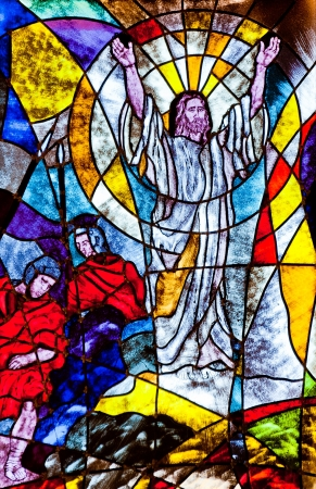resurrection: Stained glass showing Jesus resurrection